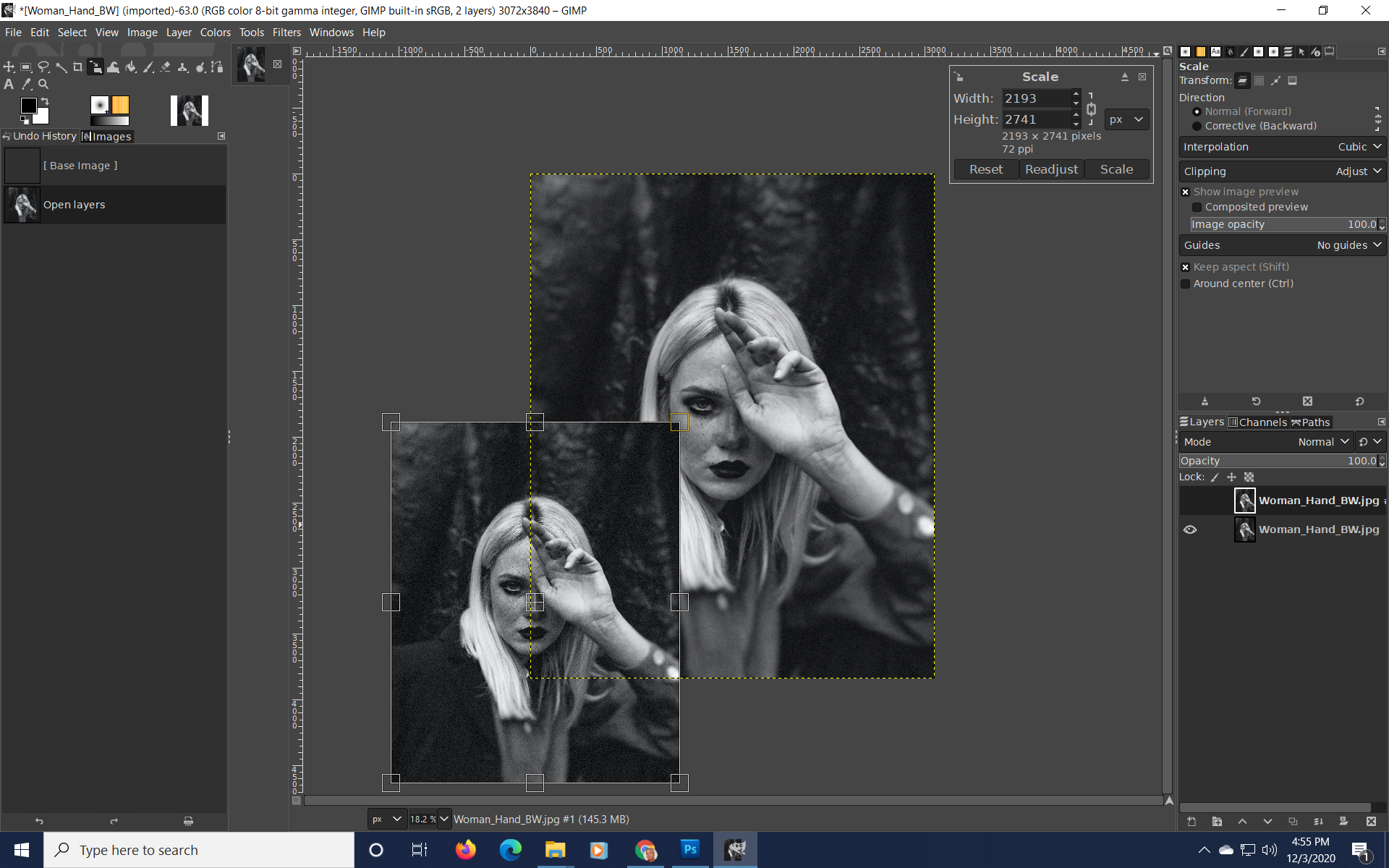 resize a layer in gimp