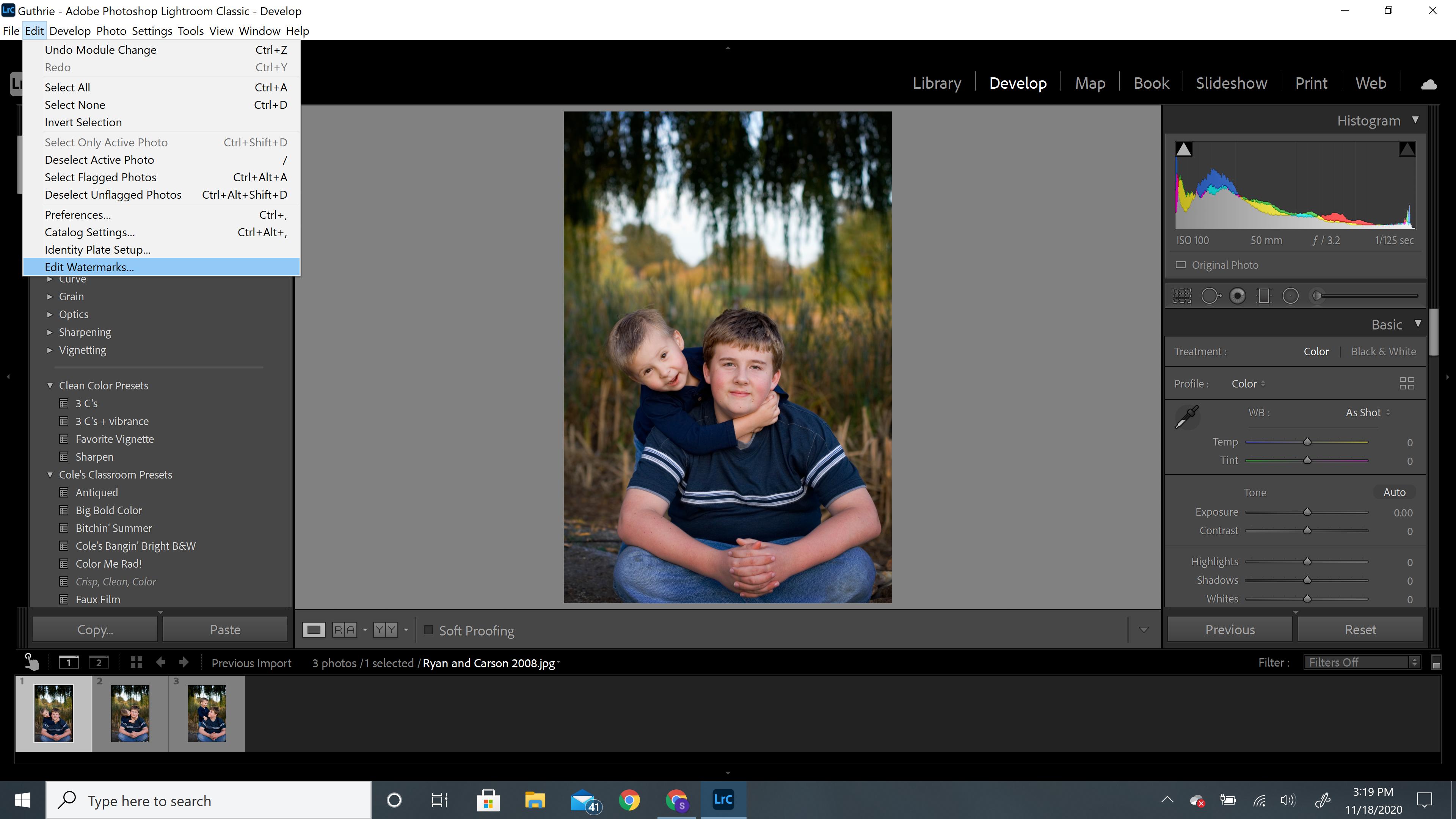 select edit watermarks